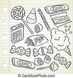 komplet, od, cukierek, w, doodle, styl