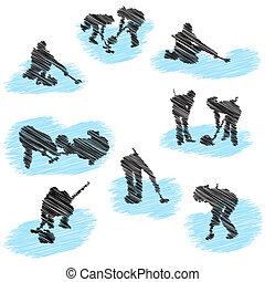 komplet, od, curling, gracz, grunge, sylwetka