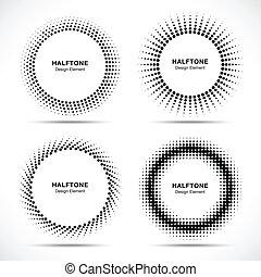 komplet, od, czarnoskóry, abstrakcyjny, halftone, koła, logo