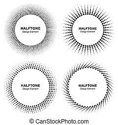 komplet, od, czarnoskóry, abstrakcyjny, halftone, koło, ułożyć, logo, wektor, ilustracja