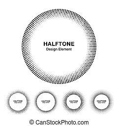 komplet, od, czarnoskóry, abstrakcyjny, halftone, koło, ułożyć, logo