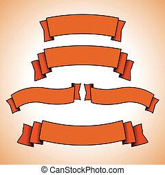 komplet, od, czerwony, retro, chorągwie, albo, wstążki