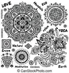 komplet, od, dekoracyjny, indianin, symbolika