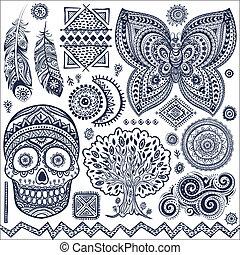 komplet, od, dekoracyjny, plemienny, elementy, i, symbolika