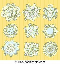 komplet, od, dekoracyjny, ręka, pociągnięty, wektor, kwiatowe elementy