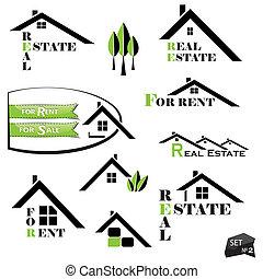 komplet, od, domy, ikony, dla, realność handlowa, na białym, tło., z, kasownik, elementy