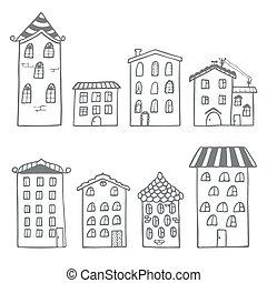 komplet, od, domy, w, doodle, styl
