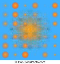 komplet, od, dropiaty, pomarańcza, halftone., eps, 8