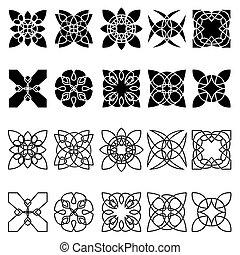 komplet, od, dwadzieścia, czarnoskóry, abstrakcyjny, modeluje
