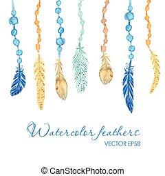 komplet, od, etniczny, feathers., etniczny, seamless, próbka, w, krajowiec, style.