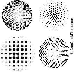komplet, od, halftone, spheres., wektor, ilustracja