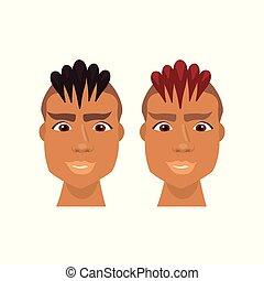 komplet, od, hipster, afrykańscy amerykańscy mężczyźni, twarz, z, modny, fryzura, odizolowany, ikony