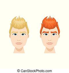 komplet, od, hipster, mężczyźni, twarz, z, modny, fryzura, odizolowany, ikony