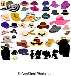 komplet, od, kapelusze