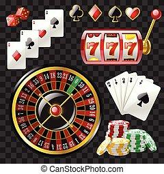 komplet, od, kasyno, obiekty, -, nowoczesny, wektor, realistyczny, odizolowany, chwyćcie sztukę