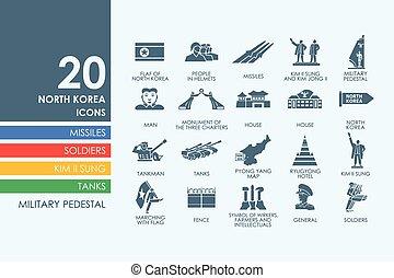 komplet, od, korea północna, ikony