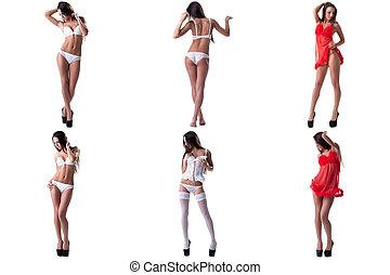 komplet, od, kuszący, wzór, advertises, sexy underwear