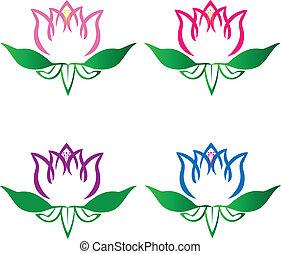 komplet, od, lotos, kwiaty, logo, wektor