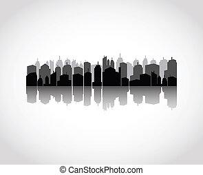 komplet, od, miasta, sylwetka