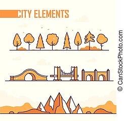 komplet, od, miasto, elementy, -, nowoczesny, wektor, odizolowany, obiekty