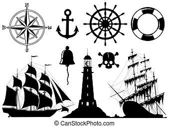 komplet, od, morski, ikony