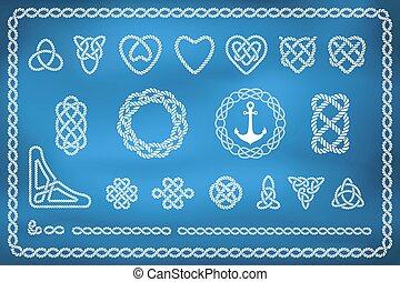 komplet, od, morski, związać, węzły