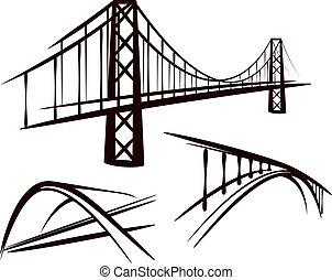 komplet, od, mosty