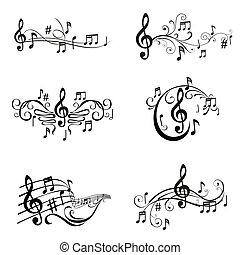 komplet, od, muzyczny notatnik, ilustracja, -, w, wektor