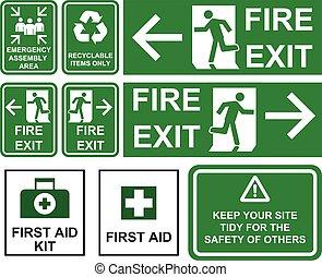 komplet, od, nagły wypadek, ogień wyjście, nagły wypadek, montaż, powierzchnia, pierwsza pomoc, surowiec wtórny możliwy do przerobienia, pozycje, jedyny, zielony, znaki, z, różny, kierunki, isolated.