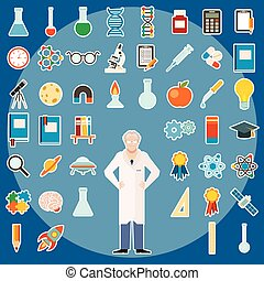 komplet, od, nauka, ikony