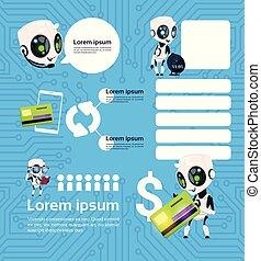 komplet, od, nowoczesny, robot, technologia, chatbots, służba, na, błękitne tło, z, objazd, sztuczna inteligencja, infographic, szablon, elementy