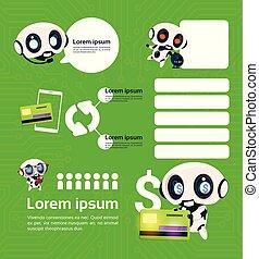 komplet, od, nowoczesny, robot, technologia, na, zielone tło, z, infographic, szablon, elementy, sztuczna inteligencja, pojęcie