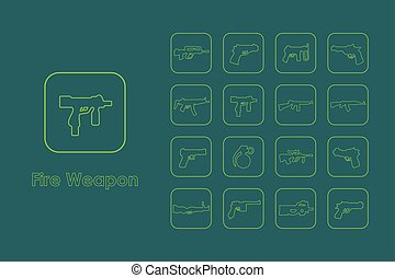 komplet, od, ogień, broń, naturalne ikony