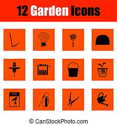 komplet, od, ogrodnictwo, ikony