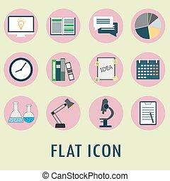 komplet, od, płaski, icons.