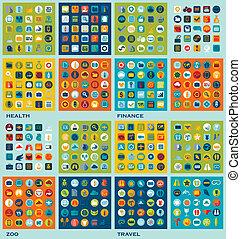 komplet, od, płaski, icons:, zdrowie, finanse, ogród...