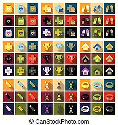 komplet, od, płaski, ikony, weterynaryjny, nauka