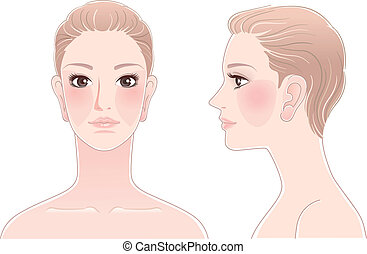 komplet, od, piękna kobieta, portret