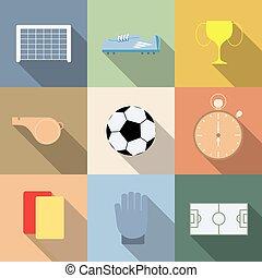 komplet, od, piłka nożna, wektor, ilustracja