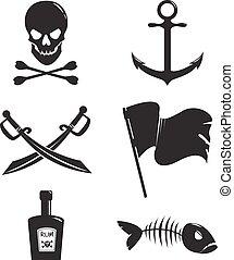 komplet, od, pirat, przybory, odizolowany, na białym, tło.