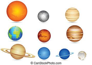 komplet, od, planety
