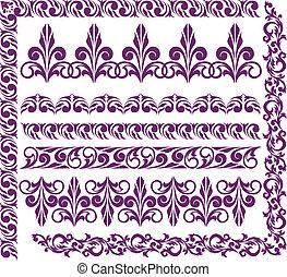 komplet, od, purpurowy, upiększenia