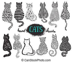 komplet, od, ręka, zaciągnąć, textured, koty, w, graficzny, doodle, styl