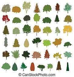 komplet, od, retro, sylwetka, drzewa., wektor