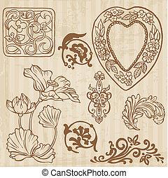 komplet, od, rocznik wina, kwiaty, i, kwiatowe elementy, -, ręka, pociągnięty, w, wektor