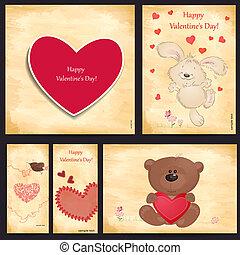 komplet, od, romantyk, powitanie karcięta, szczęśliwy, valentine dzień