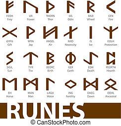komplet, od, runes, wektor