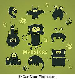 komplet, od, rysunek, potwory
