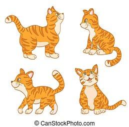 komplet, od, rysunek, sprytny, koty