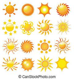komplet, od, słońce, wektor